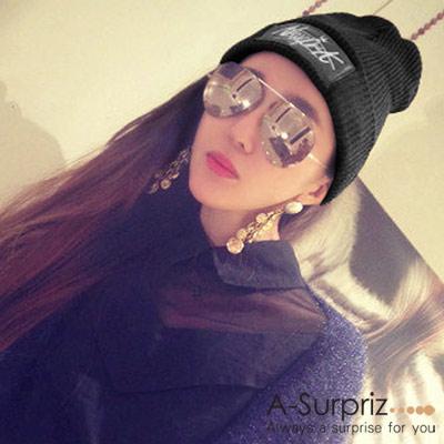 A-Surpriz NEWYORK素雅毛線帽(黑 )