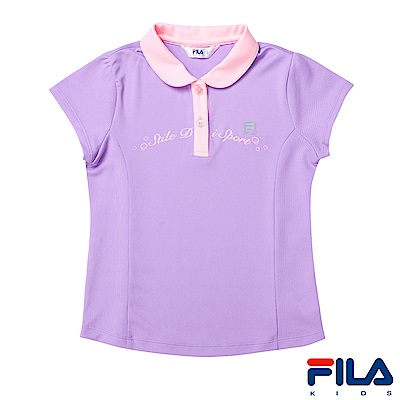 FILA KIDS 女童抗UV吸濕排汗POLO衫-淺紫5POS-4320-MV