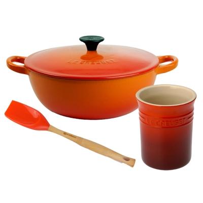 LE-CREUSET-琺瑯鑄鐵媽咪鍋-22cm-瓷器鏟座-V鏟杓