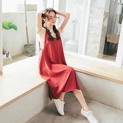 CACO-細肩雪紡連身洋裝(兩色)-女【PSH010】