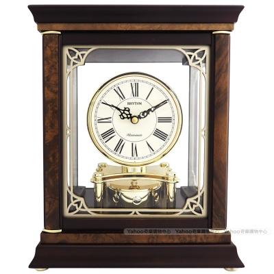 RHYTHM日本麗聲 奢華實木整點敲鐘報時座鐘/30cm