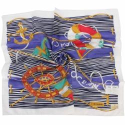 TRUSSARDI-海洋風情純棉領帕巾-藍