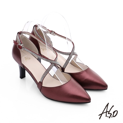 A.S.O 璀璨注目 全羊皮交叉水鑽高跟鞋 酒紅色