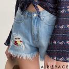 AIR SPACE 拼接刺繡造型抽鬚牛仔短褲(藍)
