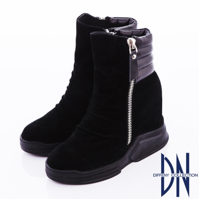 DN 個性魅力 經典羊皮厚底中筒靴 黑