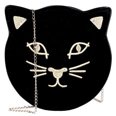 Charlotte Olympia KITTY 天鵝絨貓咪鍊帶包(黑色)