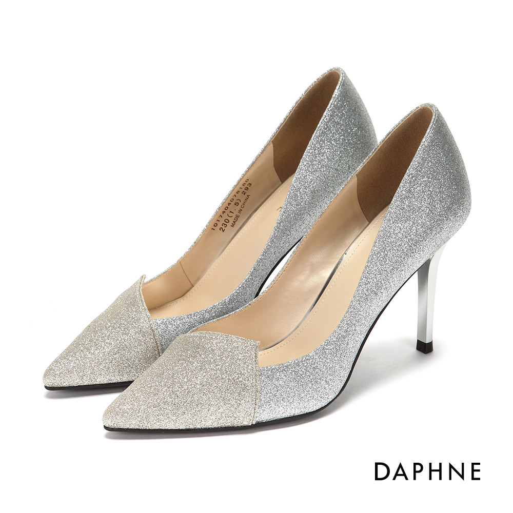 達芙妮DAPHNE 高跟鞋-金蔥亮片拼接尖頭高跟鞋-銀