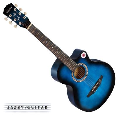 Lanjian系列 38吋,缺角民謠吉他,木吉他,琴袋+背帶+彈片+全配備 (漸層藍色)