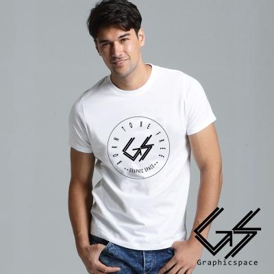潮流簡約黑色線條圓標磨毛水洗T恤 (白色)-GraphicSpace