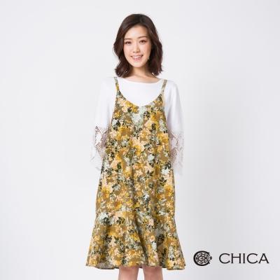CHICA 花藝風華荷葉裙襬印花設計洋裝(3色)