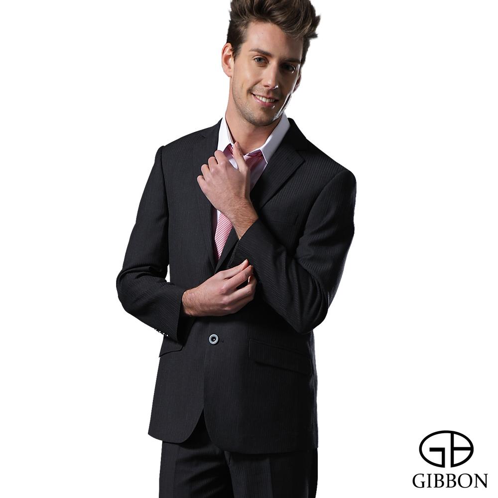 GIBBON 精簡條紋羊毛成套西裝/平口褲‧灰直條