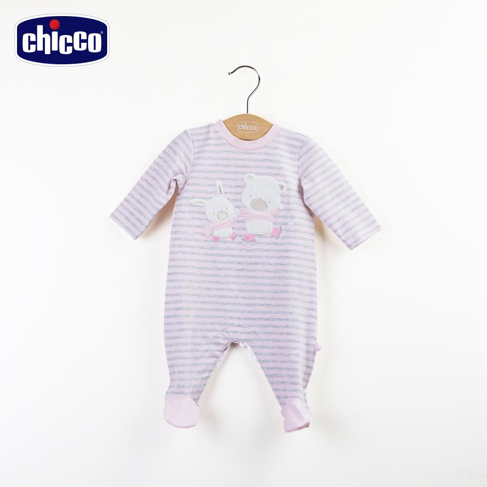 chicco玫瑰公主條紋後開兔裝-灰(3-12個月)