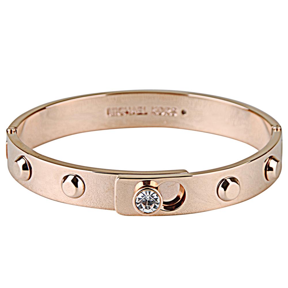 Michael Kors 低調奢華白鑽鉚釘扣式手環(玫瑰金)