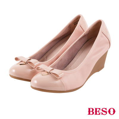 BESO 優雅甜心 全真皮蝴蝶結楔型底娃娃鞋~粉紅