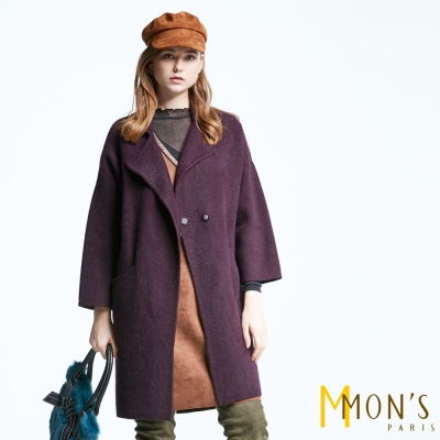 MONS-狐狸絨翻領長版大衣-外套