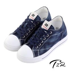 【韓國T2R】經典牛仔隱形增高帆布鞋 ↑7cm 深藍