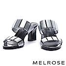 拖鞋 MELROSE 摩登個性金屬跟設計羊皮高跟拖鞋-銀