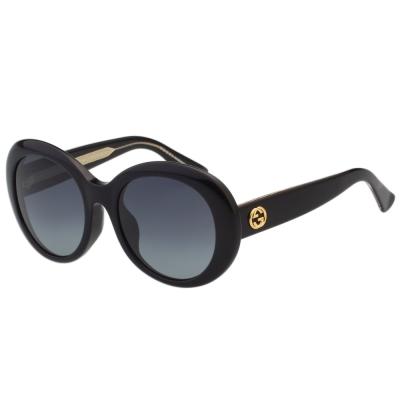 GUCCI-復古圓框-太陽眼鏡-黑色
