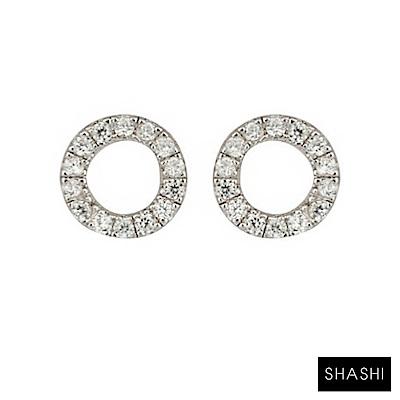 SHASHI 紐約品牌 Circle Pave 鑲鑽圓滿圈迷你圓耳環 925純銀