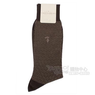 TRUSSARDI 棉質滿版立體菱紋紳士襪-咖啡