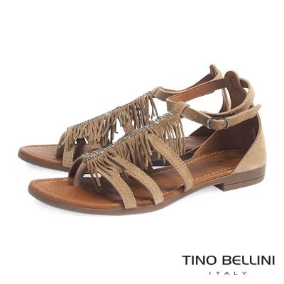 Tino Bellini 義大利進口波西米亞流蘇平底涼鞋_駝