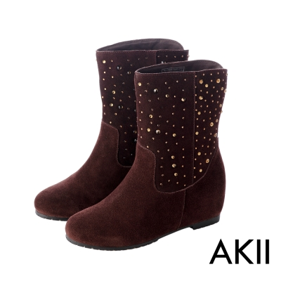 AKII韓國空運‧奢華水鑽真皮內增高短靴-咖啡