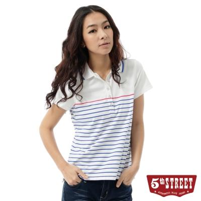 5th-STREET-POLO衫-運動風條紋POLO衫-女-藍色