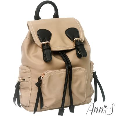 Ann'S休閒輕便版-素面防水尼龍束口後背包-卡其