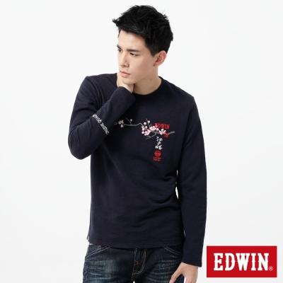 EDWIN-T恤-江戶勝限量富士山櫻花T恤-男-丈青