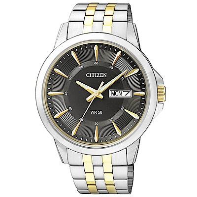 CITIZEN星辰 金刻度黑色錶盤石英男仕手錶(BF2018-52H)-黑/41mm