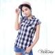 Victoria 格紋落肩短袖襯衫-女-藍白格紋 product thumbnail 1