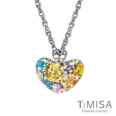 TiMISA《絢麗典藏-寵愛(黃粉) 》純鈦項鍊(SB)
