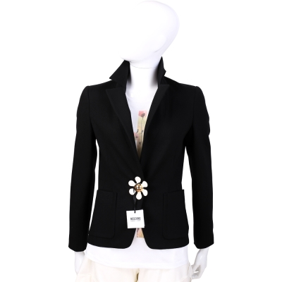 MOSCHINO 黑色花釦造型西裝外套