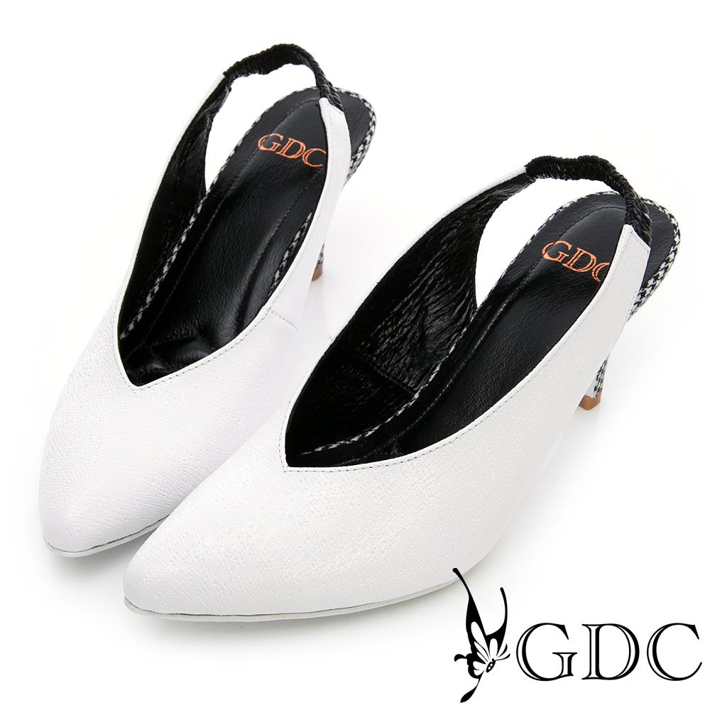 GDC-進口羊皮氣質格紋懶人跟鞋-白色