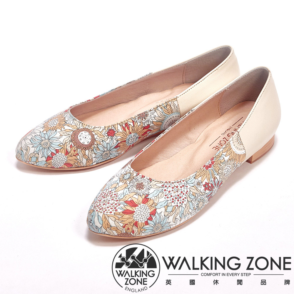 WALKING ZONE 印花皮革低跟休閒女鞋-棕
