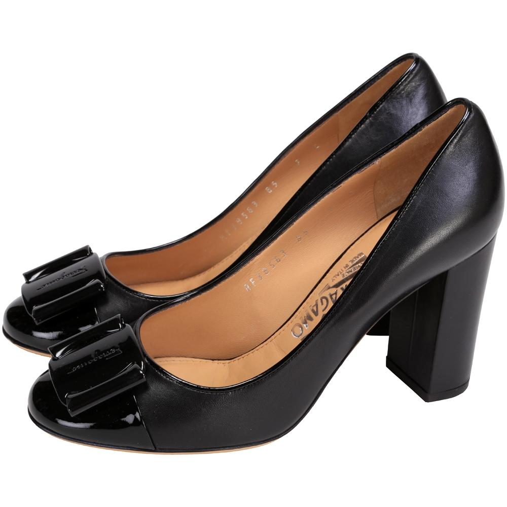 Salvatore Ferragamo DATRECE 漆皮拼接粗跟鞋(黑色)