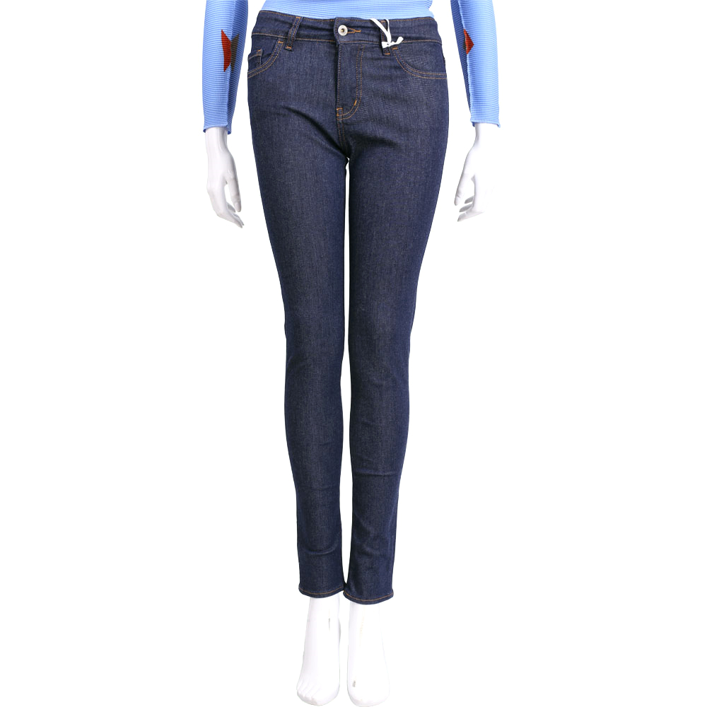 LOVE MOSCHINO 深藍色後口袋刺繡修身直筒牛仔褲