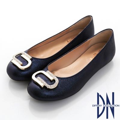 DN 都會典雅 星光耀眼水鑽飾扣平底豆豆鞋-藍
