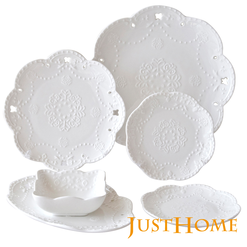 【Just Home】伊莎浮雕新骨瓷餐盤6件組(5種盤形)