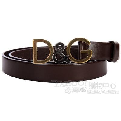 DOLCE & GABBANA 仿舊金屬logo窄版皮帶(雪茄色)