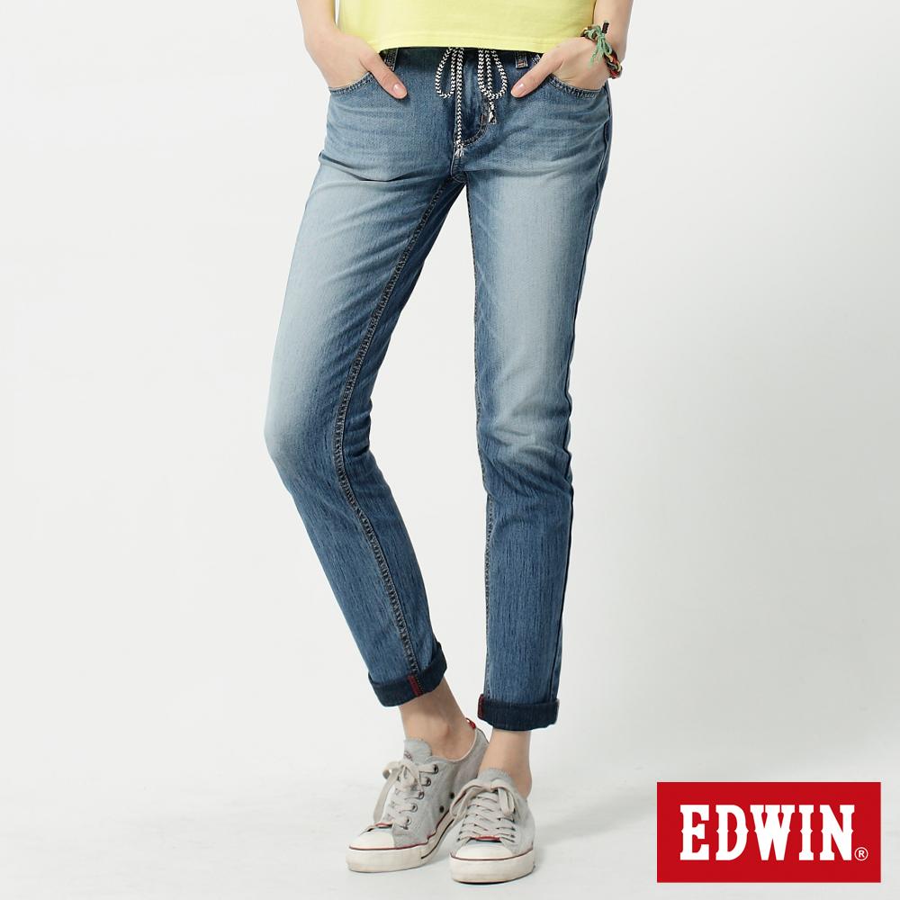 EDWIN革命性 503迦績褲 JERSEYS圓織牛仔褲-女-拔淺藍