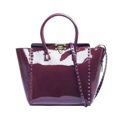 VALENTINO DOUBLE HANDLE BAG鉚釘小牛漆皮金屬釦拉鍊兩用包(藕紫)