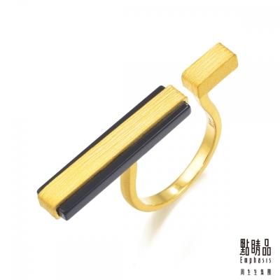 點睛品Emphasis 黃金戒指- g* collection -矩形黑玉髓