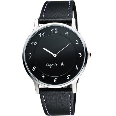 agnes b. 法國時尚藝術腕錶-黑/39mm