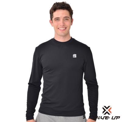FIVE UP-簡單風格保暖衣圓領T-男-黑