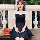 甜美撞色拼接假兩件短袖洋裝 (藏青色)-Kugi Girl