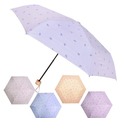 2mm 銀膠抗UV 蝴蝶結條紋輕量手開傘 (超值2入組)