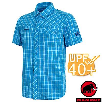 【瑞士 MAMMUT 長毛象】Asko 男新款 彈性透氣短袖襯衫_帝國藍/白
