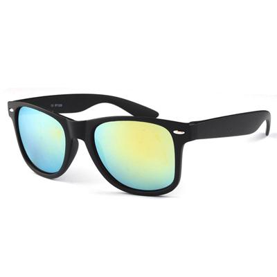 梨花HaNA 英倫時髦雷朋鉚釘霧黑框情侶款太陽眼鏡-藍綠水銀鏡片