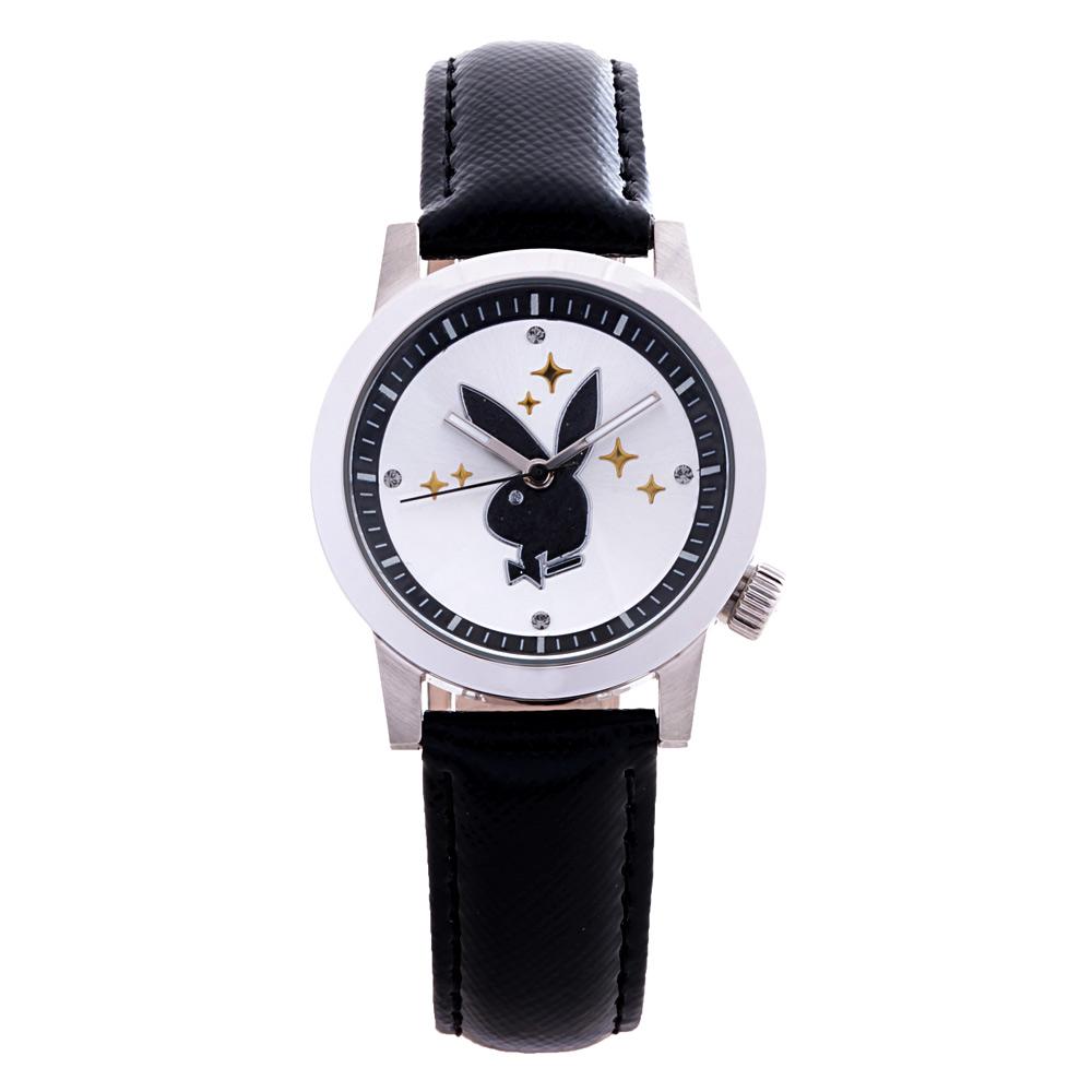 PLAYBOY 繽紛亮片時尚錶 黑色帶+銀框/35mm @ Y!購物